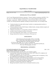 analytical chemist resume format example job resumes
