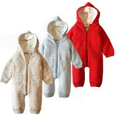 baby knitted sweater hooded romper 0 18 months solid color long sleeves autumn winter infant