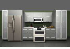 tall grey kitchen cabinet with frosted glass door pantry and white appliances also french fridge