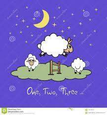 cute cartoon sheep jumping over fence good night sleep metaphor