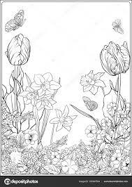 Kleurplaat Tulp Bloe Samenstelling Met Lentebloemen Tropicalweather