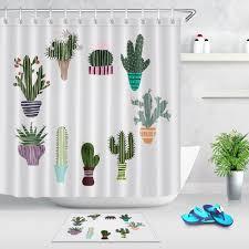 details about landscape plant cactus shower curtain set bathroom mat polyester fabric hooks