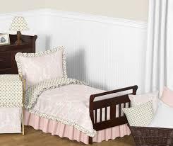 sweet jojo luxury gold polka dots pink and white damask toddler girl bedding set