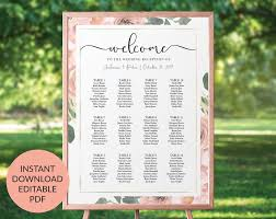 Wedding Seating Chart Staples Blush Wedding Seating Chart Printable Blush And Gold