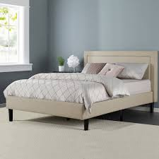 Zinus Mckenzie Upholstered Detailed Platform Bed with Wooden Slats ...