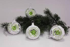 4 Reflexkugeln 6 Cm Eisweiß Mit Grün Weihnachtsbaumkugeln Aus Lauscha