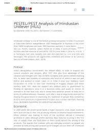 pestel analysis of hindustan unilever hul unilever business