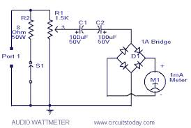 audio wattmeter or audio power level meter circuit diagram audio watt meter