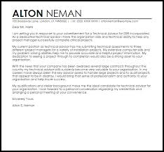 Sample Technical Cover Letters Technical Advisor Cover Letter Sample Cover Letter