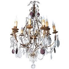 french 19th century gilt brass crystal chandelier