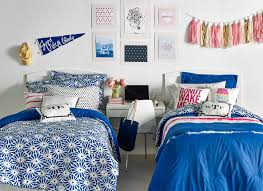 Small White Desks For Bedrooms Alluring Blue Accent For Dorm Room Decorating Ideas With Small