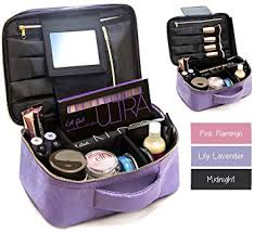 travel makeup bag with mirror adjule dividers best cosmetic case organizer make up bag