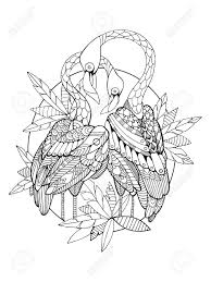 大人のベクトル図のフラミンゴ鳥の塗り絵大人のための着色抗ストレス入れ墨のステンシルですzentangle