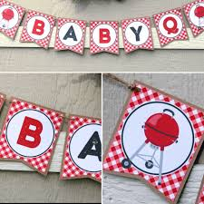Baby-Q Baby Shower Banner - BBQ Baby Shower - Coed Baby Shower Decorations