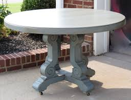 weathered paris gray painted round wooden outdoor dining table as lovely pedestal on floors paver for room furniture amazing solid rounded