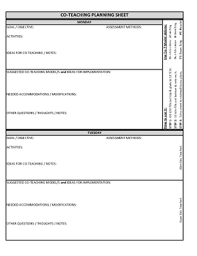 Co Teaching Planning Template Version 3 Of 3 Co Teaching