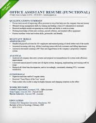 Office Assistant Resume Functional Popular Summary Of Qualifications
