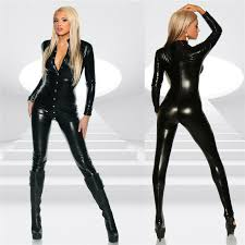 womens wet look jumpsuit one piece faux leather catsuit suit romper clubwear