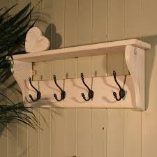 White Coat Rack Wall Mounted Hat and Coat Rack with Shelf in Shabby Chic Distressed White Wash 32
