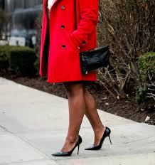 plus size black leather skirt red coat outfit idea curvy fashion blog