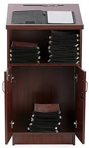 Hostess Stations Hostess Stations With Locking Storage Cabinet Open Shelf Mahogany