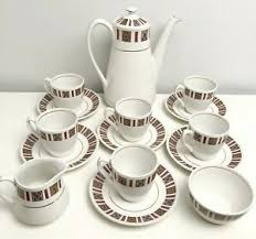 20.00 your local currency » staffordshire british anchor impact pottery blue coffee set. Vintage Hostess Tableware By British Anchor Staffordshire Coffee Serving Set Ebay