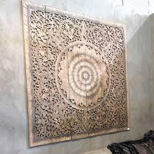 wood wall art panel mandala carved grey headboard
