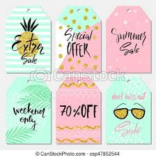 Summer Gift Tags Summer Set Of Sale And Gift Tags Labels With Cute Hand Drawn Design Elements Handwritten Lettering And Textures Vector Illustration