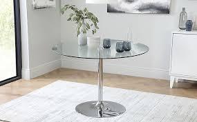 orbit round chrome and glass dining