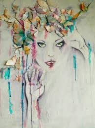 spectacular original acrylic mixed media painting canvas pastel colours dramatic womans face wings 3d butterflies birds colorful wall art on etsy  on 3d wall art woman with spectacular original acrylic mixed media painting canvas pastel