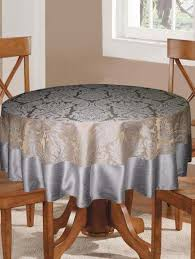 6 seater round table cloth with polyester border by lushomes