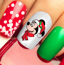 20 Waterslide Mickey Mouse Head Face Christmas Nail Art Decals for sale  online