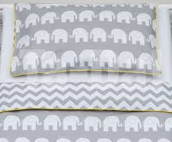 100 cotton cot bed duvet cover set girls and boys grey elephants bedding