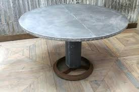 extraordinary railroad tie round dining table tables with zinc top classic metal appealing 5 uk full