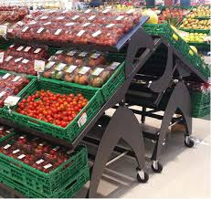 Fruit And Vegetable Stands And Displays Best TILTING FRUIT AND VEGETABLE STAND ON CASTORS MaxShelf