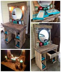 furniture made old pallets. a makeup vanity i made for my girlfriends birthday out of old pallets and other saved furniture
