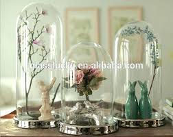 dome bell jar hot clear glass bell jar dome with wooden base flower display plastic dome bell jar glass