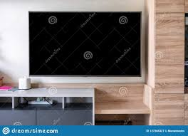 Wall Design For Flat Screen Tv Led Flat Screen Tv Hanging On Wall Stock Image Image Of