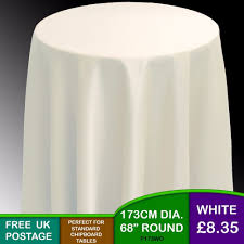 plain round white chipboard display bedside table tablecloth 173cm 68