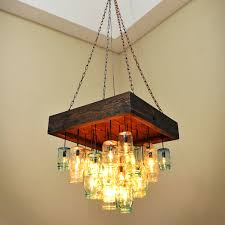 diy brilliant recycled light fixtures with top 46 outstanding mason jar chandelier square recycled glass bottle