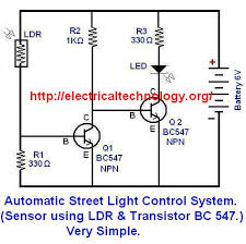 automatic street light control system sensor using ldr circuit diagram 2 automatic street light control system sensor using ldr transistor bc 547 very simple