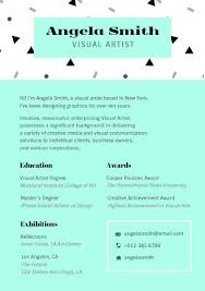 Arts Resumes Visual Artist Resume Builder Design Outstanding
