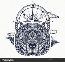 Medvěd Kompas Tetování Tričko Design Severní Medvěd Grizzly Symbol