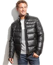 lyst tommy hilfiger faux leather puffer jacket in black for men
