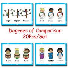 Richardy 20pcs Set Degrees Of Comparison English Adjectives Original Comparative Superlative Rule Card Child Flash Cards Kids Educational Learning