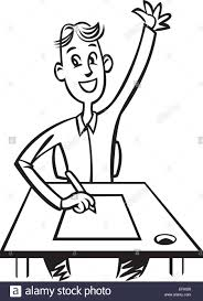 student sitting at desk drawing. Interesting Desk A Student Sitting At His Desk With Hand Up  Stock Image In Student Sitting At Desk Drawing L