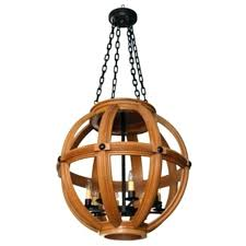 sphere chandelier bronze wood design large carved oak lighting ceiling metal