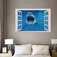 window shark 3d wall art sticker for bedrooms blue 48 5 72cm