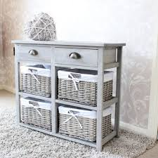 Grey Wood Wicker Storage Unit Drawer Shabby French Chic Bedroom Kitchen  Bathroom