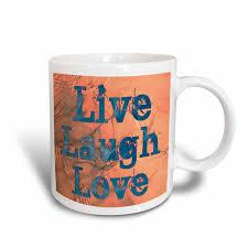 3drose Golden Peach Wave Live Laugh Love Inspirational Quotes Ceramic Mug 11 Ounce